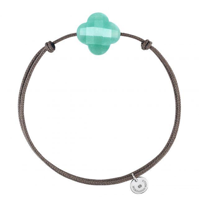 Bracelet cordon trèfle Amazonite