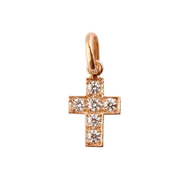 Pendentif Croix Or Rose Diamant