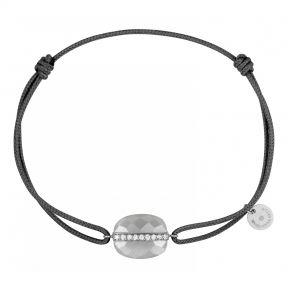 Bracelet Cordon Gris Pierre de lune Diamants