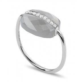 Bague Pierre De Lune Grise Diamants