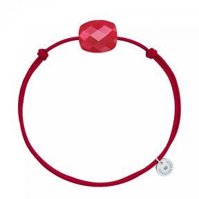 Bracelet Cordon Rouge Coussin QUARTZ ROUGE