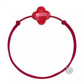 Bracelet Cordon Rouge Trefle QUARTZ ROUGE