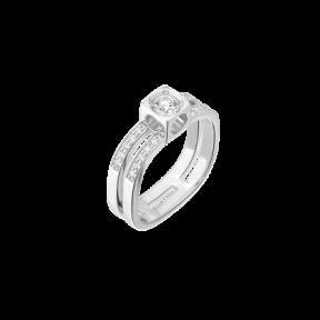 Bague Le Cube Diamant grand modèle pavée